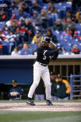 CHICAGO - APRIL 14:  Harold Baines #3 of the Chicago White Sox stands ready at the plate during a game against the Chicago White Sox at Comiskey Park on April 14, 1996 in Chicago, Illinois. (Photo by Jonathan Daniel/Getty Images)
