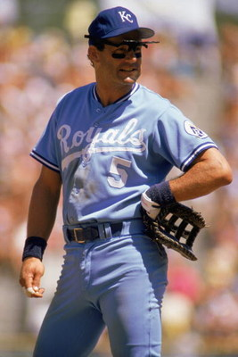 1988:  George Brett of the Kansas City Royals looks on during a MLB game in the 1988 season. (Photo by: Jonathan Daniel/Getty Images)