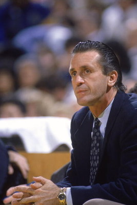 LOS ANGELES - 1988:  Head coach Pat Riley of the Los Angeles Lakers sits on the bench during an NBA game at the Great Western Forum in Los Angeles, California in 1988. (Photo by: Stephen Dunn/Getty Images)