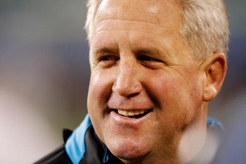 CHARLOTTE, NC - JANUARY 10:  John Fox Head Coach of the Carolina Panthers smiles during warm-ups before the game against the Arizona Cardinals during the NFC Divisional Playoff Game on January 10, 2009 at Bank of America Stadium in Charlotte, North Caroli