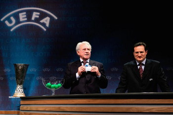 NYON, SWITZERLAND - DECEMBER 16:  Jean Fournet-Fayard conducts the draw during the last 32 of the UEFA Cup at the UEFA headquarters on December 16, 2005 in Nyon, Switzerland. (Photo by John Gichigi/Getty Images)