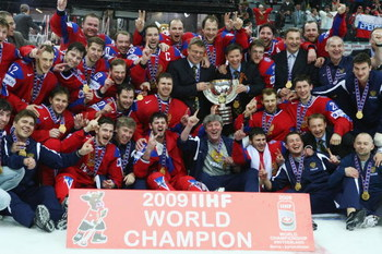 BERN, SWITZERLAND - MAY 10:  The Russia team celebrates victory in the IIHF World Championship Final between Canada and Russia at the PostFinance Arena on May 10, 2009 in Bern, Switzerland.  (Photo by Mike Hewitt/Getty Images)