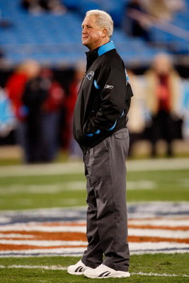 CHARLOTTE, NC - JANUARY 10:  John Fox Head Coach of the Carolina Panthers looks on during warm-ups before the game against the Arizona Cardinals during the NFC Divisional Playoff Game on January 10, 2009 at Bank of America Stadium in Charlotte, North Caro