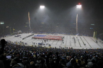 19 Jan 2002:  A general view of the pre game ceremony before the AFC playoff game between the Oakland Raiders the New England Patriots at Foxboro Stadium in Foxboro, Massachusetts. The Patriots came from behind to win 16-13 in overtime. Digital Image Mand