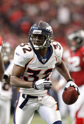 ATLANTA - NOVEMBER 16:  Dre Bly #32 of the Denver Broncos still runs at the end of the play during the game against the Atlanta Falcons at the Georgia Dome on November 16, 2008 in Atlanta, Georgia. The Broncos defeated the Falcons 24-20.  (Photo by Kevin 