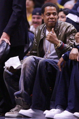 EAST RUTHERFORD, NJ - MARCH 27:  Musician Jay-Z attends the game between the Los Angeles Lakers and the New Jersey Nets during the game on March 27, 2009 at the Izod Center in East Rutherford, New Jersey. NOTE TO USER: User expressly acknowledges and agre