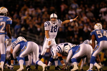 SAN DIEGO - JANUARY 03:  Quarterback Peyton Manning #18 of the Indianapolis Colts calls signals to his team during the AFC Wild Card Game against the San Diego Chargers on January 3, 2009 at Qualcomm Stadium in San Diego, California.  (Photo by Harry How/