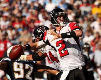 SAN DIEGO - NOVEMBER 30:  Quarterback Matt Ryan #2 of the Atlanta Falcons throws a pass against the San Diego Chargers on November 30, 2008 at Qualcomm Stadium in San Diego, California.  The Falcons won 22-16.  (Photo by Stephen Dunn/Getty Images)