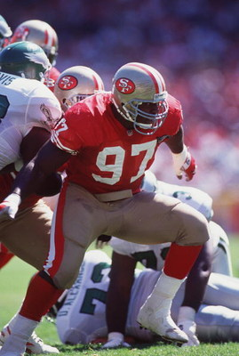 2 Oct 1994: SAN FRANCISCO 49ERS DEFENSIVE LINEMAN BRYANT YOUNG IN ACTION DURING THE 49ERS 40-8 LOSS TO THE PHILADELPHIA EAGLES AT CANDLESTICK PARK IN SAN FRANCISCO, CALIFORNIA.
