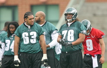 PHILADELPHIA - MAY 1: Offensive lineman Paul Fanaika #63 and Fenuki Tupou #78 of the Philadelphia Eagles look on during minicamp practice at the NovaCare Complex on May 1, 2009 in Philadelphia, Pennsylvania. (Photo by Hunter Martin/Getty Images)