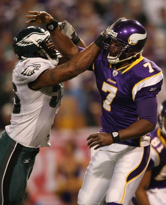 MINNEAPOLIS - JANUARY 04:  Akeem Jordan #56 of the Philadelphia Eagles is called for roughing the passer as he hits Tarvaris Jackson #7 of the Minnesota Vikings during the NFC Wild Card playoff game on January 4, 2009 at the Hubert H. Humphrey Metrodome i