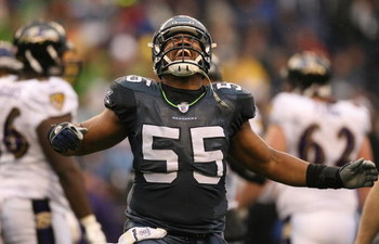 SEATTLE - DECEMBER 23:  Darryl Tapp #55 of the Seattle Seahawks celebrates after a sack against the Baltimore Ravens at Qwest Field on December 23, 2007 in Seattle, Washington. (Photo by Otto Greule Jr/Getty Images)