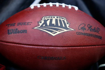 TAMPA, FL - FEBRUARY 01:  A detail of an official game football signed by Roger Goodell is seen during Super Bowl XLIII on February 1, 2009 at Raymond James Stadium in Tampa, Florida.  (Photo by Chris Graythen/Getty Images)