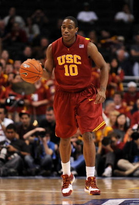 LOS ANGELES, CA - MARCH 14:  Guard DeMar DeRozan #10 of the USC Trojans brings the ball upcourt against the Arizona State Sun Devils in the Pacific Life Pac-10 Men's Basketball Tournament Championship Game at the Staples Center on March 14, 2009 in Los An