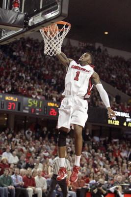 LOUISVILLE, KY - MARCH 04: Terrence Williams #1 of the Louisville Cardinals makes a layup during the Big East Conference game against the Seton Hall Pirates at Freedom Hall on March 4, 2009 in Louisville, Kentucky.  (Photo by Andy Lyons/Getty Images)