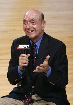 CHAPEL HILL, NC - FEBRUARY 06: ESPN sports commentator Dick Vitale reports before the game between the North Carolina Tar Heels and the Duke Blue Devils at the Dean E. Smith Center on February 6, 2008 in Chapel Hill, North Carolina. This will be Vitale's