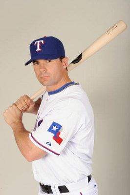 SURPRISE, ARIZONA - FEBRUARY 24:  Michael Young #10 of the Texas Rangers during photo day at Surprise Stadium on February 24, 2009 in Surprise, Arizona. (Photo by: Harry How/Getty Images)