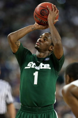 DETROIT - APRIL 04:  Kalin Lucas #1 of the Michigan State Spartans shoots a free throw against the Connecticut Huskies during the National Semifinal game of the NCAA Division I Men's Basketball Championship at Ford Field on April 4, 2009 in Detroit, Michi