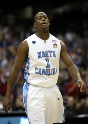 SAN ANTONIO - APRIL 05:  Marcus Ginyard #1 of the North Carolina Tar Heels walks back to the bench in the first half against the Kansas Jayhawks during the National Semifinal game of the NCAA Men's Final Four at the Alamodome on April 5, 2008 in San Anton