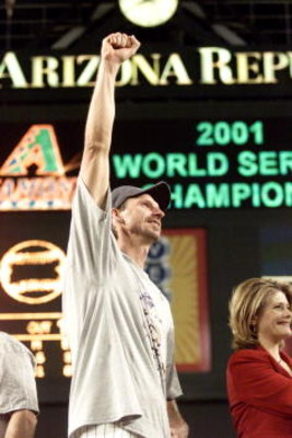 4 Nov 2001:  Co-MVP winner Randy Johnson #51 a of the Arizona Diamondbacks celebrates winning the  World Series over the New York Yankees at Bank One Ballpark in Phoenix, Arizona. The Diamondbacks defeated the Yankees 3-2. DIGITAL IMAGE Mandatory Credit: