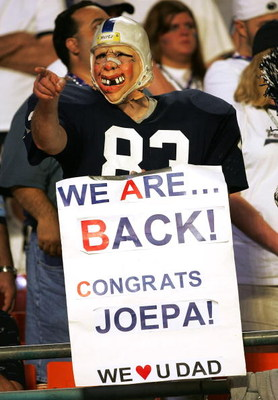 MIAMI GARDENS, FL - JANUARY 3: A Nittany Lions fan shows his support for his team and head coach Joe Paterno as the Penn State Nittany Lions take on the Florida State Seminoles in the Fed Ex Orange Bowl at Dolphins Stadium on January 3, 2005 in Miami Gard