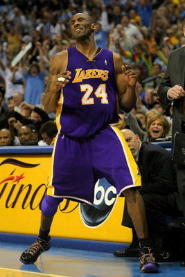 DENVER - MAY 23:  Kobe Bryant #24 of the Los Angeles Lakers reacts in the fourth quarter against the Denver Nuggets in Game Three of the Western Conference Finals during the 2009 NBA Playoffs at Staples Center on May 23, 2009 in Denver, Colorado. NOTE TO