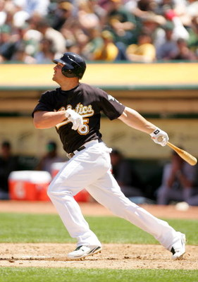 OAKLAND, CA - MAY 09:  Matt Holliday #5  of the Oakland Athletics bats against the Toronto Blue Jays on May 9, 2009 at the Oakland Coliseum in Oakland, California.  (Photo by Ezra Shaw/Getty Images)