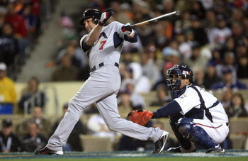 LOS ANGELES - MARCH 22: Mark DeRosa #7 of the United States doubled to deep left to score to runs in the eighth inning of the semifinal game of the 2009 World Baseball Classic Japan on March 22, 2009 at Dodger Stadium in Los Angeles, California. (Photo by