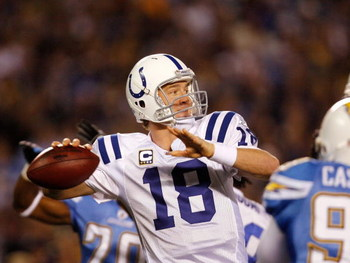 SAN DIEGO - JANUARY 03:  Quarterback Peyton Manning #18 of the Indianapolis Colts drops back to pass during the AFC Wild Card Game against the San Diego Chargers on January 3, 2009 at Qualcomm Stadium in San Diego, California.  (Photo by Harry How/Getty I