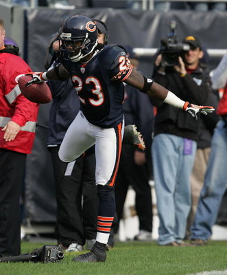 CHICAGO - OCTOBER 14:  Devin Hester #23 of the Chicago Bears celebrates in the end zone after catching an 81 yard touchdown pass in the 4th quarter against the Minnesota Vikings on October 14, 2007 at Soldier Field in Chicago, Illinois. The Vikings defeat