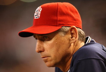 PHOENIX - MAY 25:  Manager Bud Black of the San Diego Padres looks on from the dugout during the major league baseball game against the Arizona Diamondbacksat Chase Field on May 25, 2009 in Phoenix, Arizona.  (Photo by Christian Petersen/Getty Images)