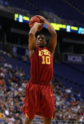 MINNEAPOLIS - MARCH 22:  DeMar DeRozan #10 of the USC Trojans attempts a shot against the Michigan State Spartans during the second round of the NCAA Division I Men's Basketball Tournament at the Hubert H. Humphrey Metrodome on March 22, 2009 in Minneapol