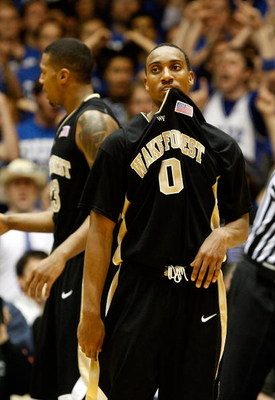 DURHAM, NC - FEBRUARY 22:  Jeff Teague #0 of the Wake Forest Demon Deacons reacts against the Duke Blue Devils during their game at Cameron Indoor Stadium on February 22, 2009 in Durham, North Carolina.  (Photo by Streeter Lecka/Getty Images)