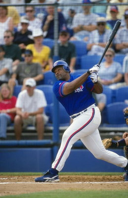 21 Mar 1999: Designated Hitter Cecil Fielder #45 of the Toronto Blue Jays swings at the ball during the Spring Training game against the  Boston Red Sox at the Dunedin Stadium in Dunedin, Florida. The Red Sox defeated the Blue Jays 4-3. Mandatory Credit: 