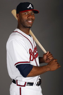 LAKE BUENA VISTA, FL - FEBRUARY 19:  Outfielder Jason Heyward #77 of the Atlanta Braves poses for a photo during Spring Training Photo Day on February 19, 2009 at Champions Stadium at Walt Disney World of Sports in Lake Buena Vista, Florida.  (Photo by Ch