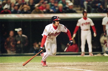 24 Oct 1995:  Omar Vizquel of the Cleveland Indians starts to run after hitting the ball during game three of the World Series against the Atlanta Braves at Jacob's Field in Cleveland, Ohio. The Indians defeated the Braves 7-6. Mandatory Credit: Otto Greu