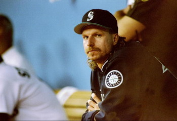 8 Oct 1995:  Pitcher Randy Johnson of the Seattle Mariners looks on during a game against the New York Yankees at the Kingdome in Seattle, Washington.  The Mariners won the game 6-5. Mandatory Credit: Stephen Dunn  /Allsport