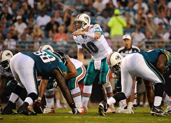 JACKSONVILLE, FL - AUGUST 16: Quarterback Chad Pennington #10 of the Miami Dolphins calls a signal in a game against the Jacksonville Jaguars at Jacksonville Municipal Stadium on August 16, 2008 in Jacksonville, Florida.  (Photo by Sam Greenwood/Getty Ima