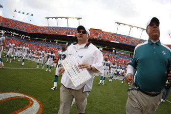 MIAMI - JANUARY 4:  Head coach Tony Sparano of the Miami Dolphins leaves the field following an AFC Wild Card playoff game against the Baltimore Ravens on January 4, 2009 at Dolphin Stadium in Miami, Florida. (Photo by Gregory Shamus/Getty Images)
