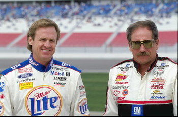5 Mar 1999:  Rusty Wallace #2 and Dale Earnhardt #3 pose for the camera during practice for the Las Vegas 400 of the NASCAR Winston Cup Series at the Las Vegas Motor Speedway in Las Vegas, Nevada. Mandatory Credit: David Taylor  /Allsport