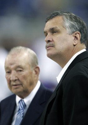 DETROIT - DECEMBER 4: President and CEO Matt Millen (R) of the Detroit Lions stands with team owner William Clay Ford prior to the start of the game against the Minnesota Vikings at Ford Field on December 4, 2005 in Detroit, Michigan. The Vikings won 21-1