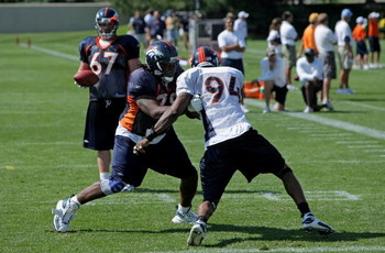 ENGLEWOOD, CO - JULY 29:  Offensive tackle Ryan Clady #78 of the Denver Broncos and defensive end Jarvis Moss #94 participate in a blocking drill during morning practice at training camp at their training facility on July 29, 2008 in Englewood, Colorado.