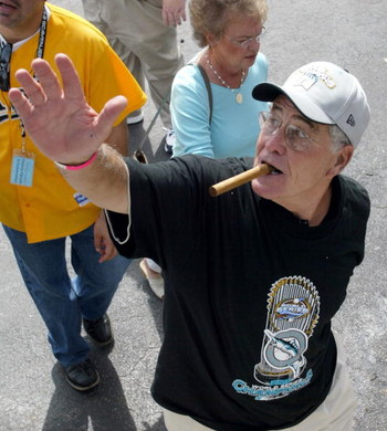 MIAMI - OCTOBER 28:  Manager Jack McKeon of the Florida Marlins waves to fans as he arrives for a World Series celebartion at Bay Front Park October 28, 2003 in Miami, Florida. The Marlins beat the New York Yankees in six games to win their second World S
