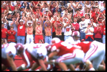 24 SEP 1994:  THE UNIVERSITY OF WISCONSIN CROWD WATCH AND CHEER DURING THE WISCONSIN BADGERS AND THE UNIVERSITY OF INDIANA HOOSIERS GAME AT CAMP RANDALL IN MADISON, WISCONSIN.