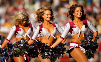SYDNEY, AUSTRALIA - MAY 17:  Cheerleaders entertain the crowd during the round 10 NRL match between the Manly Warringah Sea Eagles and the Parramatta Eels at Brookvale Oval on May 17, 2009 in Sydney, Australia.  (Photo by Cameron Spencer/Getty Images)