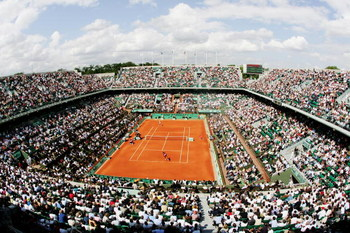 PARIS - MAY 31:  A general view of Philippe Chatrier court as Serena Williams of United States of America takes on Milagros Sequera of Venezuela during the Women's Singles 2nd round match on day five of the French Open at Roland Garros on May 31, 2007 in
