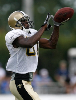 JACKSON, MS - JULY 31:  New Orleans Saints wide receiver Adrian Arrington #26 practices during the Saints' training camp at Millsaps College July 31, 2008 in Jackson, Mississippi.  (Photo by Sean Gardner/Getty Images)