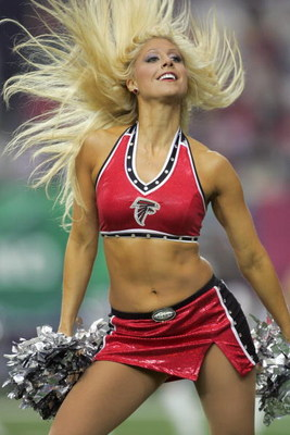 ATLANTA - OCTOBER 22:  A cheerleader of the Atlanta Falcons performs on the field during the game against the Pittsburgh Steelers on October 22, 2006 at the Georgia Dome in Atlanta, Georgia. (Photo by Doug Pensinger/Getty Images)