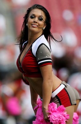 TAMPA, FL - OCTOBER 12:  A cheerleader performs as the Carolina Panthers take on Tampa Bay Buccaneers at Raymond James Stadium on October 12, 2008 in Tampa, Florida. The Buccaneers defeated the Panthers 27-3.  (Photo by Doug Benc/Getty Images)
