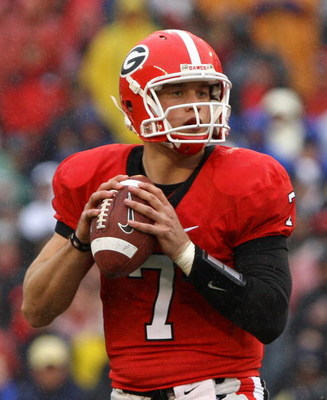 ATHENS, GA - NOVEMBER 29:  Quarterback Matthew Stafford #7 of the Georgia Bulldogs drops back to pass during the game against the Georgia Tech Yellow Jackets at Sanford Stadium on November 29, 2008 in Athens, Georgia.  The Yellow Jackets defeated the Bull